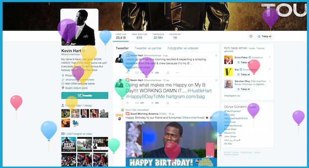 Twitter, profile doğum tarihi ekleme seçeneğini duyururken Amerikalı oyuncu Kevin Hartın profilini örnek gösterdi. Hart'ın profilinde doğum tarihine tıklayınca, sayfada bu balonlar uçuşuyor.
