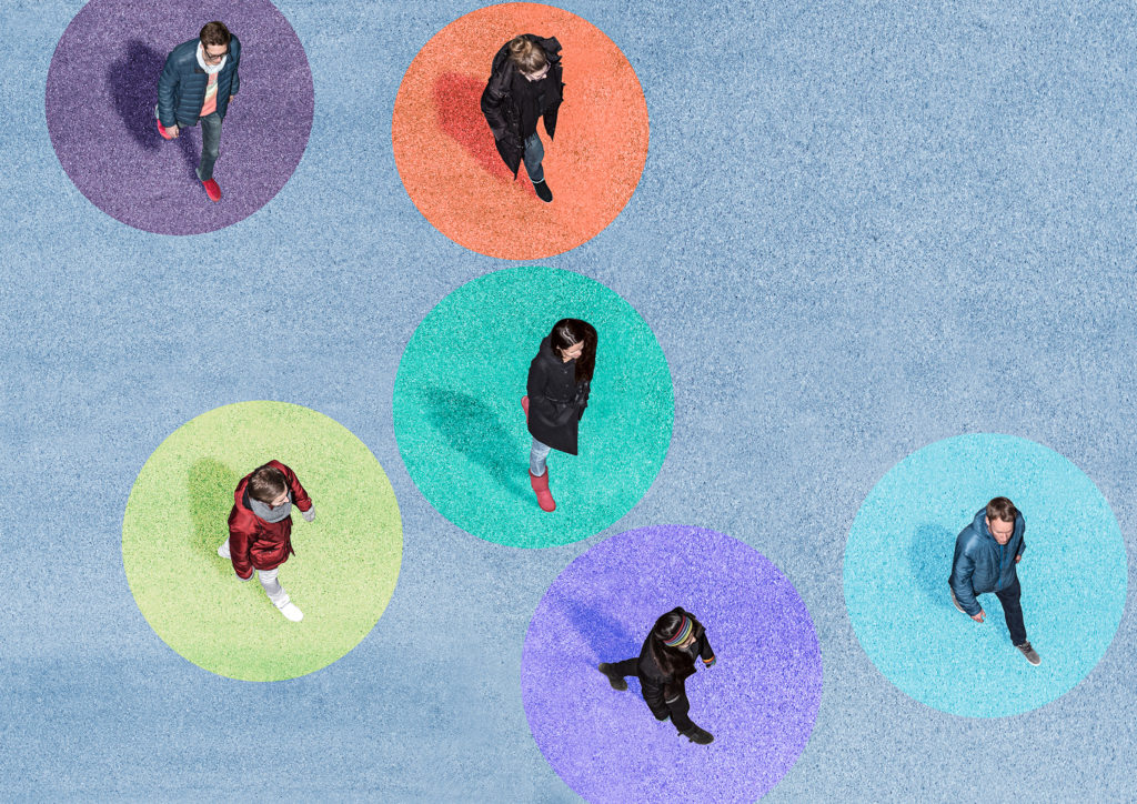 Six young people walkining on colored circles.